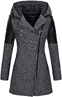sheart 9 Women Warm Trench Coat Long Sleeve Open Front Thick Parka Plus Size Winter Zipper Jacket Outwear Hooded with Pockets