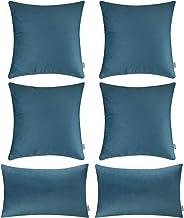 6 قطع من أغطية وسادات ناعمة من القطيفة، أغطية وسائد مريحة للزينة لأريكة نوم الأريكة (غطاء فقط، بدون حشو) (45.72 × 45.72 سم...