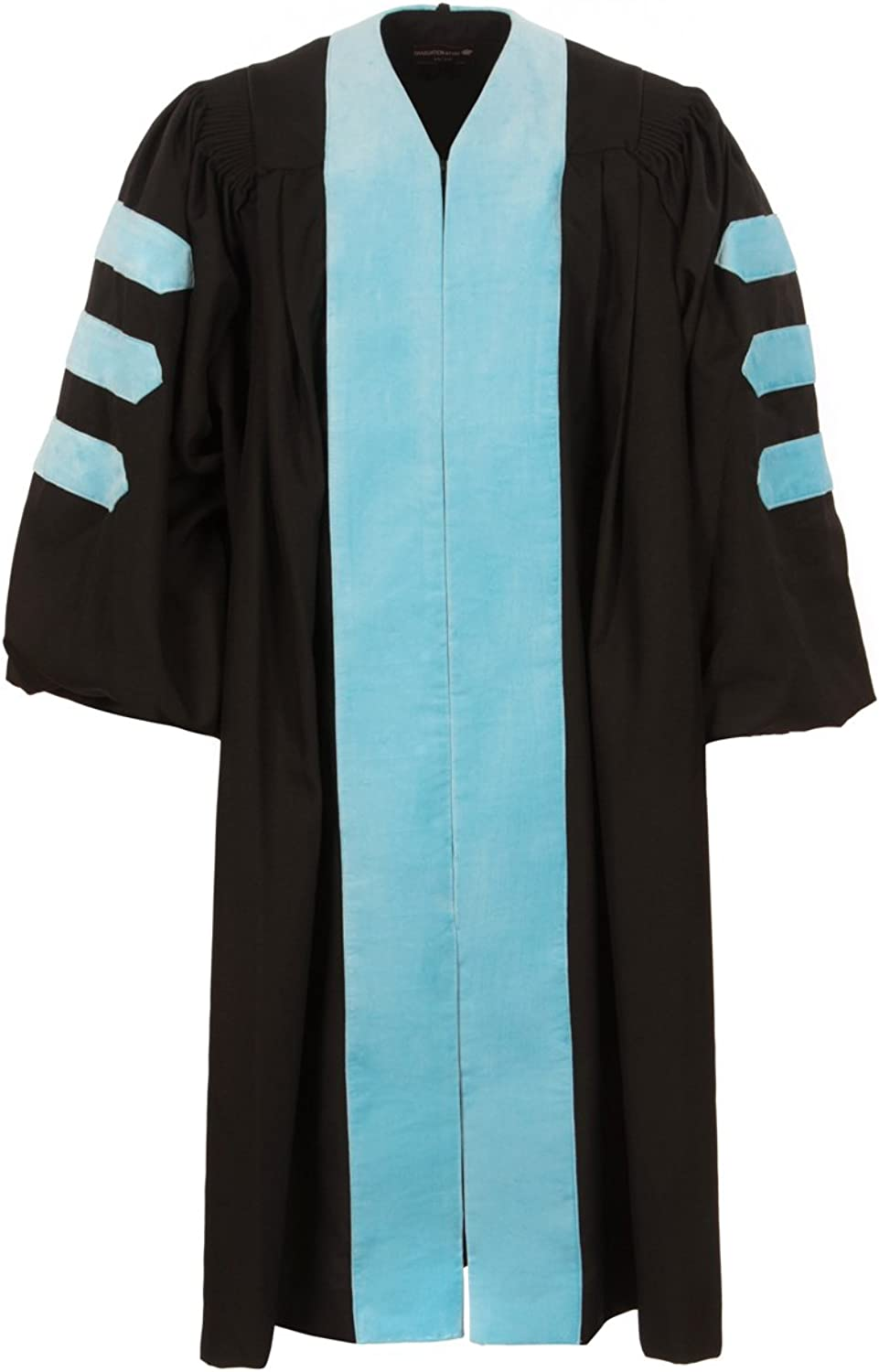 Graduation Attire American Doctoral Gown (Black with Sky bluee Velvet and no Piping)