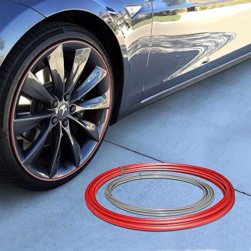 Upgrade Your Auto Wheel Bands Silver Insert in Red Track Pinstripe Rim Edge Trim