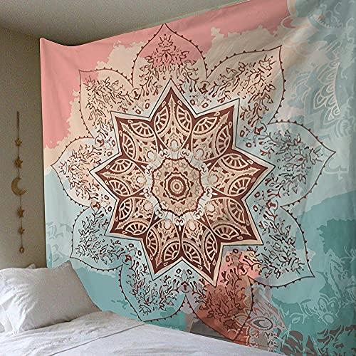 KHKJ Tapiz de Mandala de Pared Celestial para Colgar en la Pared, alfombras de Pared Hippie de Sol y Luna Negros Blancos, decoración de Dormitorio, Tapiz psicodélico A7 95x73cm