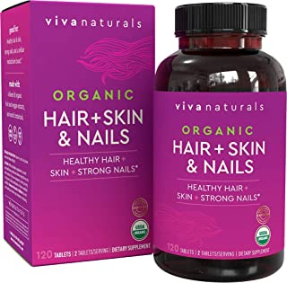 Organic Hair Skin and Nails Vitamins for Women with Biotin, Hair Vitamins and Skin Vitamins That Promotes Healthy Hair and...