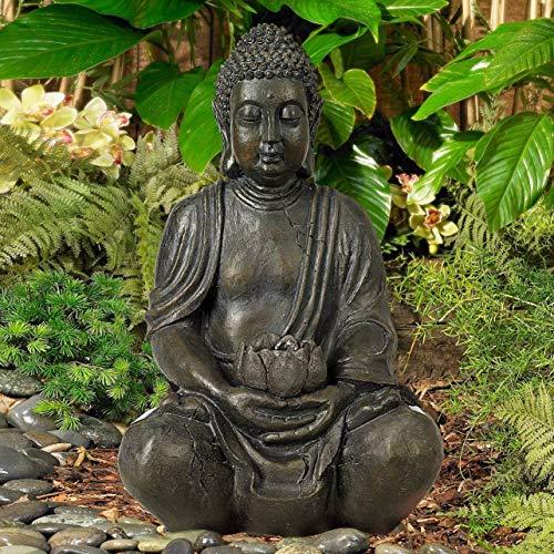 John Timberland Sitting Buddha 19 1/2' High Sculpture with Solar Powered LED