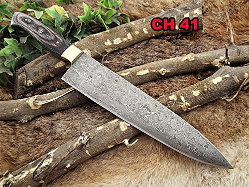 Damascus Steel Kitchen Knife, 14 Inches Long with 9' Long Hand Forged Blade, 2 Tone Dollar Wood Scale with Brass Bolster