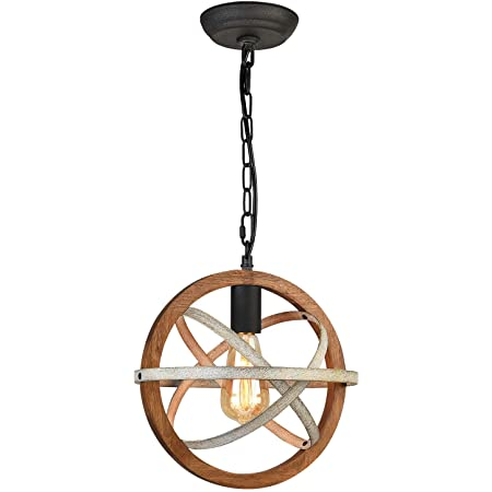 Farmhouse Light for Dining Room Rustic Pendant Lighting Fixtures 11.2'' Orb Wood Hanging Light for Kitchen Island, Entryway 1 Light