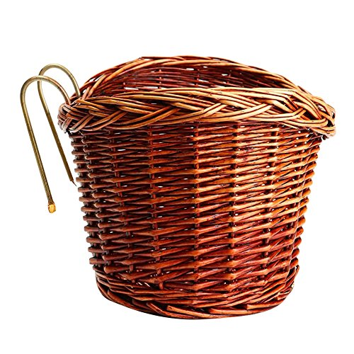Wicker Voorstuur Bike Basket Cargo, Wicker Geweven Fiets Front Basket Rieten Stuur Mand met Handvat