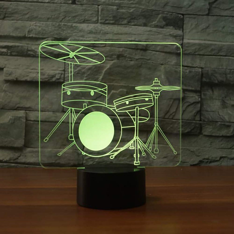 Laofan 3D Schlafzimmer Dekor 7 Farben Visuelle Trommel Modellierung Tischlampe Led Nachtlicht USB Baby Schlaf Lampe Musikinstrumente Geschenke,Remote und berühren