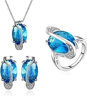 NYKKOLA bella placcato platino gioielli New Fashion Blue Crystal collana orecchini anello set di gioielli