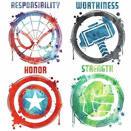 RoomMates RMK3583SCS Marvel Icons Peel And Stick Wall Decals, Multicolor