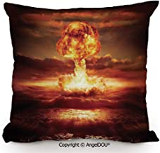 AngelDOU Square Cotton Linen Pillow Cushion,Bomb in The Ocean Fusion Radioactive Apocalypse Illustration Print Decorative,Living Room Sofa car Bed Back Cushion Pillowcase.13.7x13.7 inches
