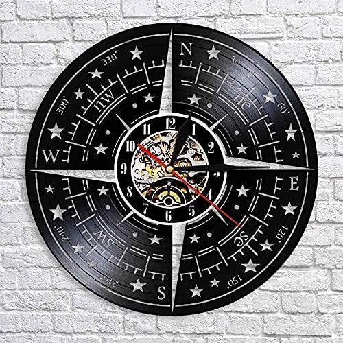yltian Disco de Vinilo Reloj de Pared brújula Rosa decoración de la Pared diseño náutico Moderno Reloj de Pared dirección náutica Marinero Marinero Regalo