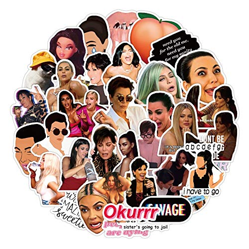 YZFCL Pegatinas Mixtas de Kardashian para Adultos, Impermeable, portátil, Motocicleta, Equipaje, Snowboard, Nevera, Coche, Pegatina de Graffiti, 50 Uds.