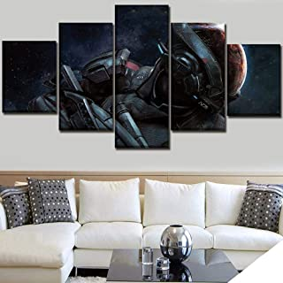 WLHWLH Wall Art Home Decorative Modular Canvas Artwork Pictures 5 Pieces Game Mass Effect Andromeda Painting HD Prints Poster
