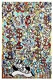 RHWXAX Muestra de dólar Abstracto Lloviendo Dinero Pintura Pintura Graffiti Divertido Cartel Dormitorio Sala de Estar decoración de Pared decoración Mural 20x28 Inch Sin Marco