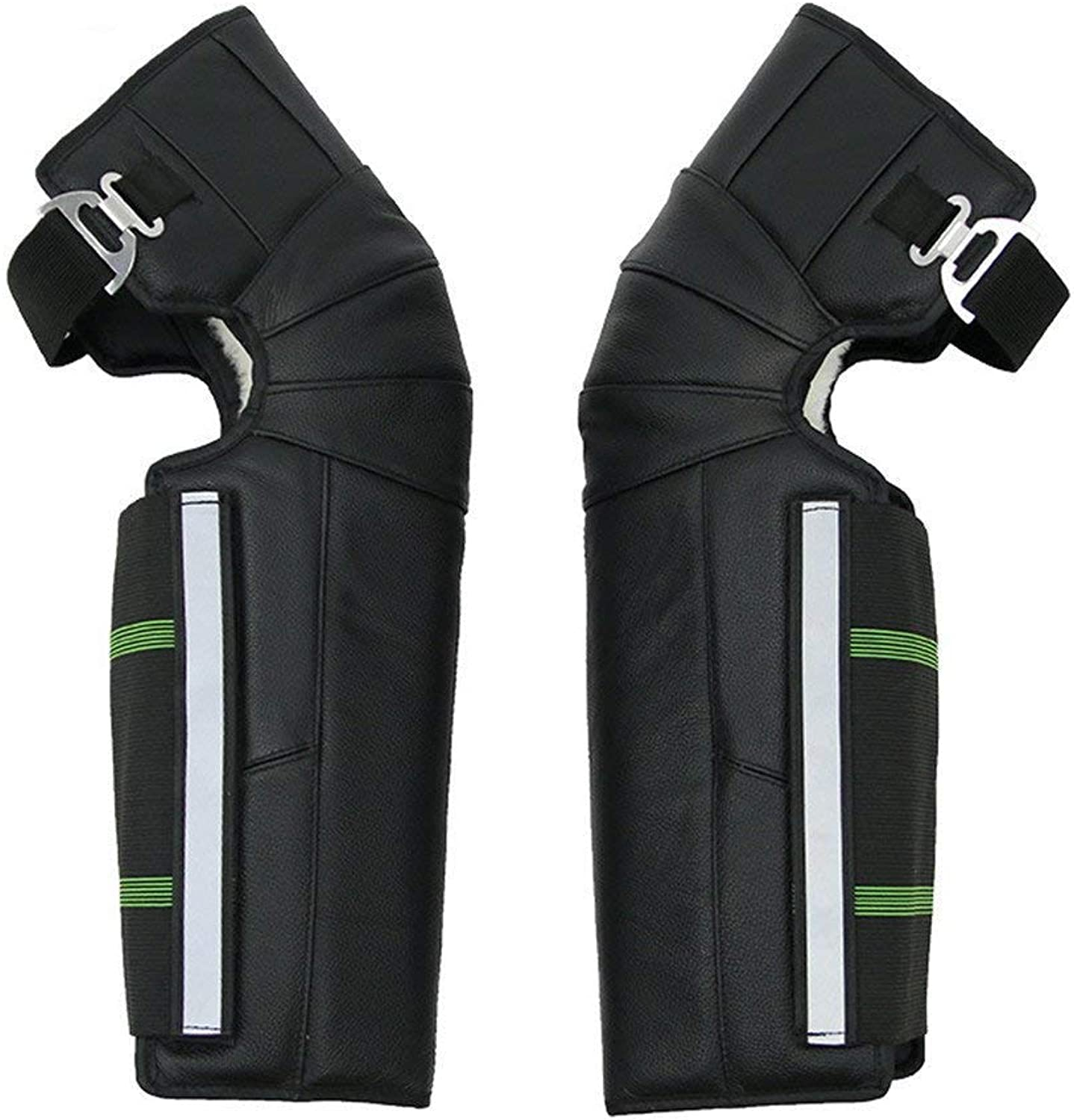 Leather Warm Knee Pads Winter Riding Cold and Windproof Knee Predectors Adjustable Length Builtin Plush
