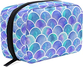 Watercolor Rainbow Mermaid Scales Makeup Bag Cosmetic Bag Toiletry Travel Bag Case for Women, Purple Fish Tail Portable Organizer Storage Pouch Bags Box