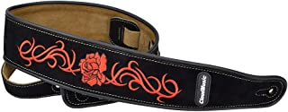 CLOUDMUSIC Leather Guitar Strap Red Roses For Acoustic Classical Electric Bass (Black)