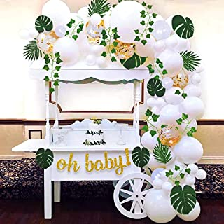 Sweet Baby Co. Boho Fake Greenery Baby Shower Decorations Neutral with Balloon Garland Arch Kit, Oh Baby Banner, Green Ivy...