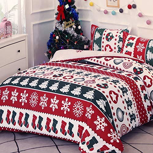 Dencalleus Christmas Patchwork Duvet Cover Set, Brushed Microfibre Nordic Soft Quilt Covers, King Size, Hotel Quality Bedding Sets Easy Care, Green Red