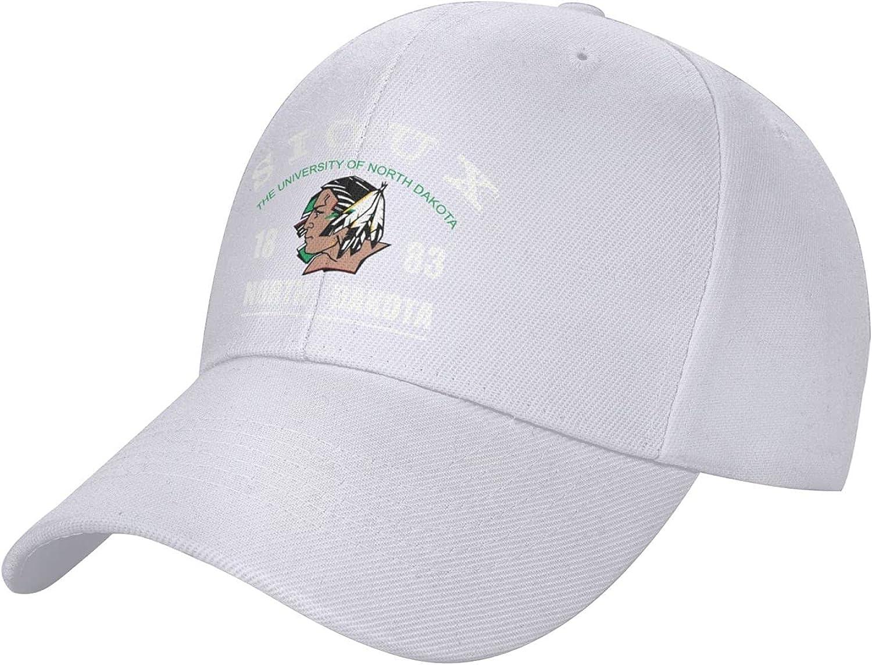 Adult-University-of-Nd-Fighting-Sioux-Trucker Cap Adjustable Casual Baseball Caps Outdoor Sun Hat for Men & Women Black