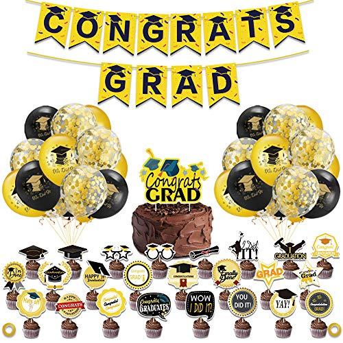 Decoraciones de Felicidades Graduado de Lujo con Pancarta, en Oro Metálico, Globos de Confeti de Oro Negro,Juego de Globos de Látex, Decoración Para Tartas Decoraciones de Graduación
