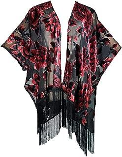 Amazing Grace Elephant Co Women's Vintage Burnout Velvet Kimono Cardigan Floral Series