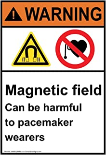 Warning Magnetic Field Can Be Harmful to Pacemaker Wearers ANSI Label Decal, 5x3.5 inch 4-Pack Vinyl for Medical Facility by ComplianceSigns