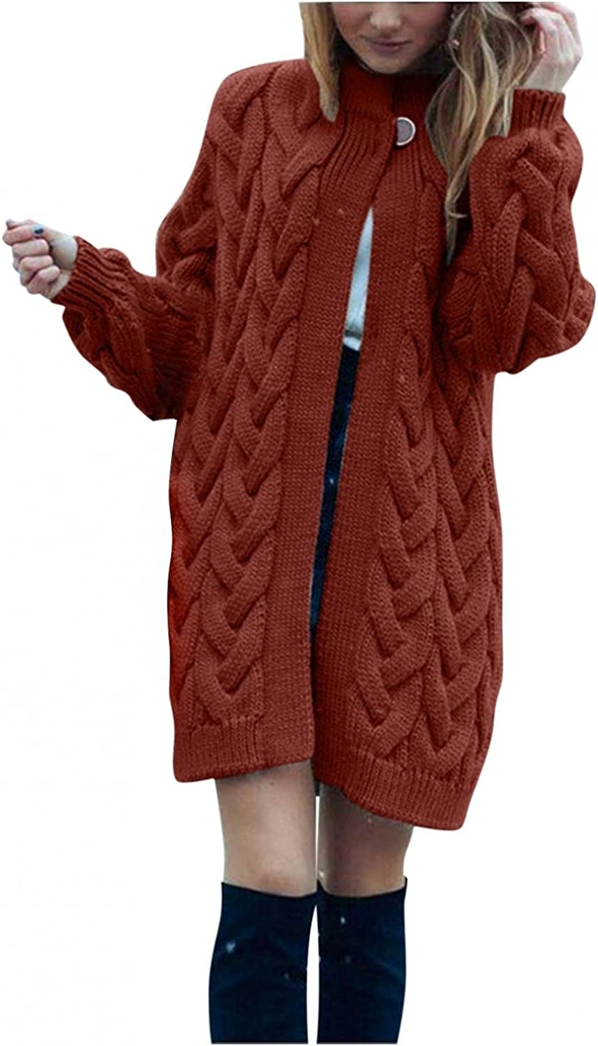 Eduavar Sweaters for Women Cardigan Long Sleeve Cable Knit Sweater Open Front Cardigan Tops Comfy Casual Loose Long Coat