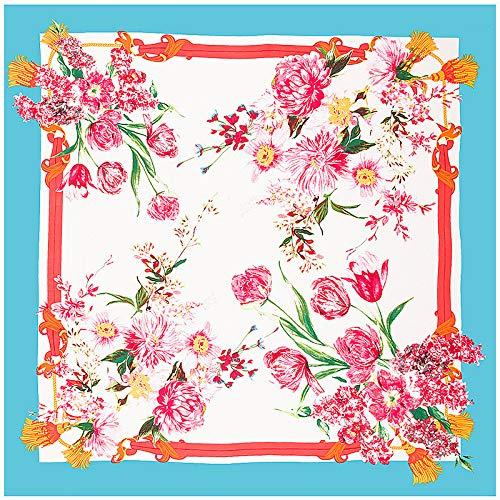 DFHTR 130 * 130 Cm Sarga Bufanda Cuadrada Serie De Flores Pañuelo En La Cabeza Bufanda De Seda para Mujer Mantón Toalla De Protección Solar