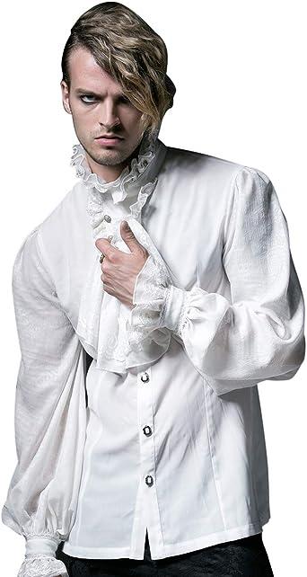 Camisa Medieval de Renacimiento para Hombre con Cuello de ...