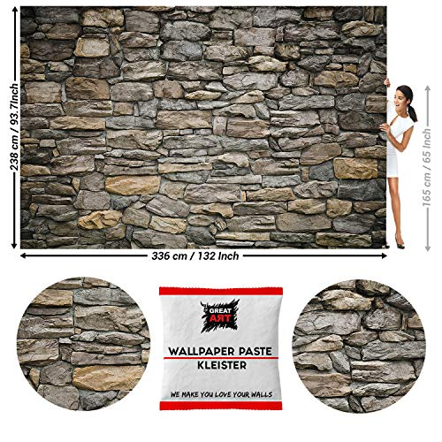 Great Art Photo Wallpaper Grey Stonewall Decoration 132.3x93.7in / 336x238cm – Industrial Design Look Wall Cladding Tapestry Natural Stone Modern Style – 8 Pieces Includes Paste