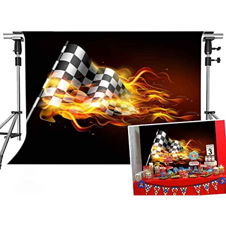 FUERMOR Car Racing Photography Backdrop for Children Birthday Cake Desk Decoration Photos Booth 7x5ft Background DSFU106