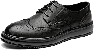 Sygjal Men's Fashion Oxford Casual Classic Carvings Breathe British Style Outsole Brogue Shoes Black (Color : Gray, Size : 39 EU)