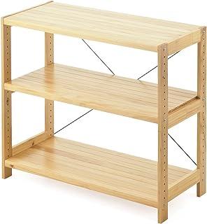 サンワダイレクト ウッドラック 幅90㎝ 奥行40㎝ 高さ80㎝ 3段 棚板可変 パイン材 天然木 100-DESKH004