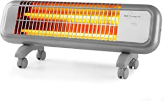Orbegozo BPM 0105 - Estufa de cuarzo, 2 niveles de potencia, 2 barras de cuarzo, sistema antivuelco, ruedas de transporte,...