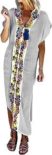 ReooLyFrauen Vintage gefälschte Zweiteilige Stehkragen Stand Groß Plissee Print Button Langarm Casual Minikleid