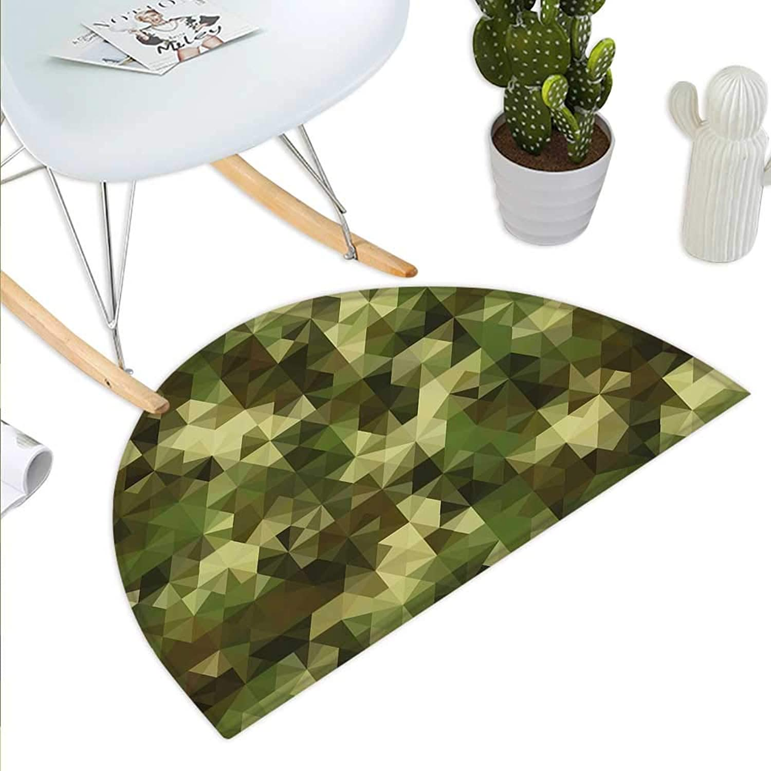 Sage Semicircle Doormat Abstract Camouflage Pattern with Fractal Look Geometric Triangles Shapes Mosaic Design Halfmoon doormats H 39.3  xD 59  Green