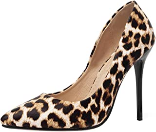 AicciAizzi Women Fashion Stiletto High Heels Pumps Slip On Party Evening Shoes Spike Toe Animal Print BaiBaoWen Size 36 Asian