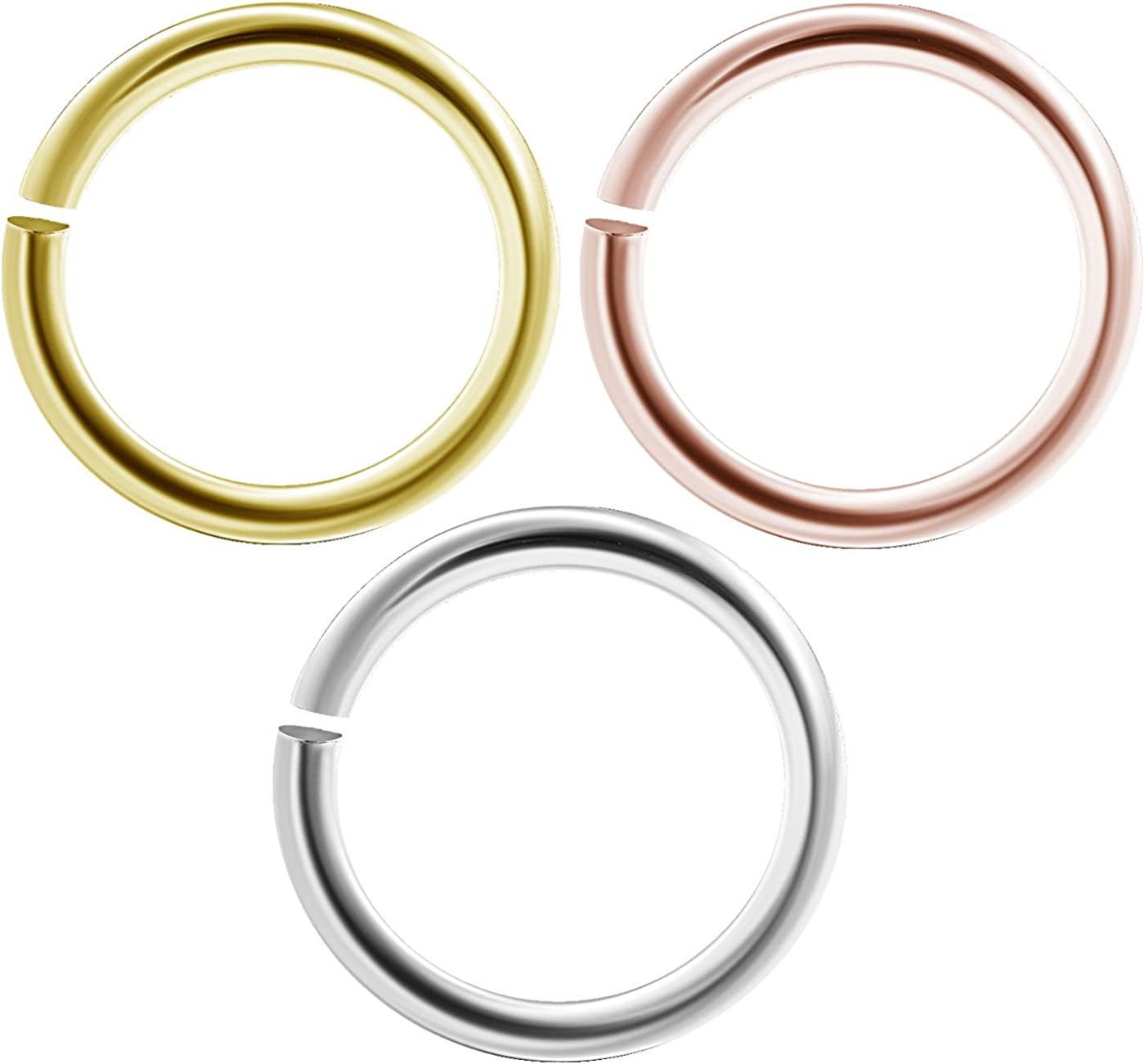 bodyjewellery 3pcs 16g 1.2mm Nose Hoop Rings Seamless Nostril Septum Cartilage Piercing Jewelry Gauge Anodized Steel - Pick Size