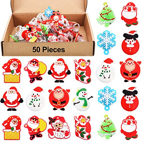 Boao 50 Pieces Christmas Light Up Rings Glow LED Ring Light Jelly Flashing Finger Toys for Dark Party Supplies (Style 1)