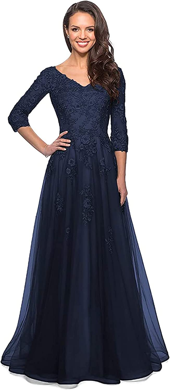 Women's Mother of The Bride Dresses Long Sleeve V-Neck Lace Appliqued Evening Formal Prom Gowns with Pockets