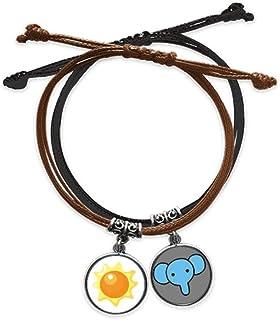 CaoGSH Universe and Alien Sun Bracelet en cuir avec chaîne de main Motif éléphant