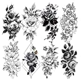 LAROI 8 Sheets Sexy Petal 3D Flower Rose Adults Temporary Tattoos Women Waterproof Fake Body Art Arm Legs Sketch Realistic Black Tattoo Stickers For Girls Shoulder Leaves Temp Tatoo Paste