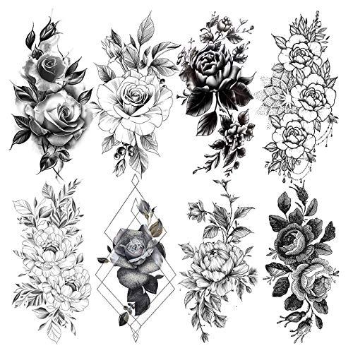 LAROI 8 Feuilles Pétale Vif 3d Fleur Rose Adultes Tatouage éphémère Femme Imperméable Faux Corps Art Bras Croquis Réaliste Autocollants Tatouages Temporaires Noir Filles Épaule Feuilles Pâte Tattoos