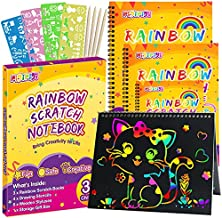 pigipigi Gifts for 3-12 Year Old Girls Boys - 3 Pack Rainbow Scratch Off Notebooks Arts Crafts Supplies Set Color Drawing Paper Kit for Kids Birthday Game Party Favor Christmas Easter Activity Toy
