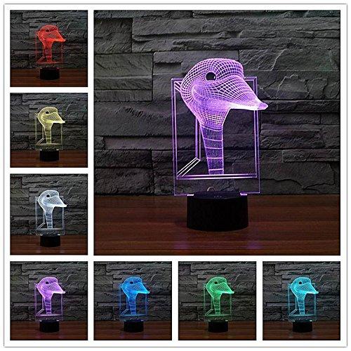 Night Light Table lamp 3D LED RGB Birthday Kids Gift Home Decoration Cartoon Cute Sea Wild Animal Monster Beast Fish Duck