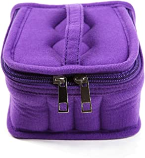 LALANG 16 Grid Carrying Case Portable Handle Bag for Bottle Essential Oil 5ml,10ml,15ml Storage Cosmetic Bag with Double Zipper(Purple)