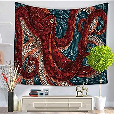 OULIU 59inch by 51inch/59inch by 79inch,Octopus Printed Beach Throw Wall Art Bohemian Tapestry Wall Hanging Boho tapestries Bedspread 8 b