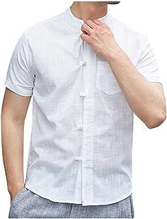 834370119 Men's Short Sleeve Casual Shirts Cloth Button Down Front Pocket Soft Linen  Hippie Beach T-