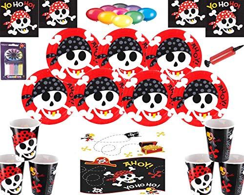 Pirate Fun Party Decoraciones para Fiestas Piratas Platos Copas Servilletas Paquete de Globos sin Mantel Velas Bombas para Globos, para 16 Invitados